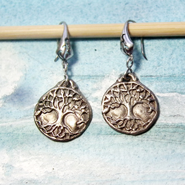 a61b8-023 Silver colour bronze earrings yggdrasil, the celtic tree of life