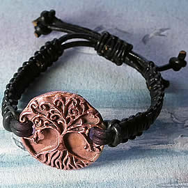 a73b1-009 Ajustable copper hand made  Yggdrasil  bracelet  with a leather macrame