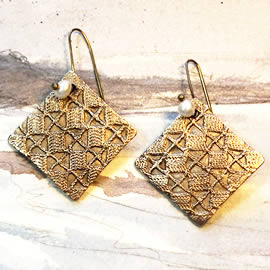 h62a-001 square earrings in  bronze with   lace patterns and   sweetwater pearls