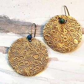 h62F-006 Earrings    large round  art-deco bronze piece+azurit  beads