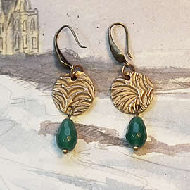h62F-033 Earrings made of bronze and  treated/enhanced emerald beads & drops