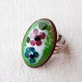 m95Aa_011 Romantic enamel ring, pink and blue flowers ,silver colour setting